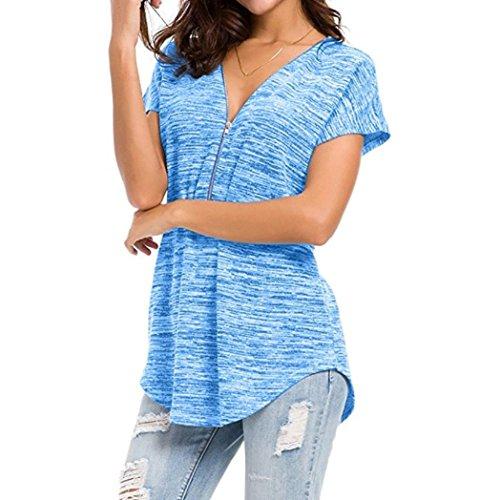 V Ajustable Occasionnels Lenfesh Chemise Mousseline Blouse Top Blouse Col Suelto Zipp Bleu Femme Chemisier xq1U1fwX0