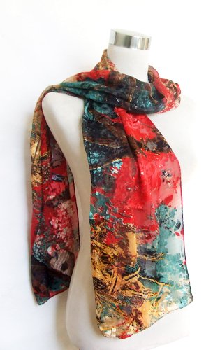 "Chiffon/Satin Blend Red/Teal/Gold Abstract Print - 100% Silk Long Scarf 21"" x 68"""