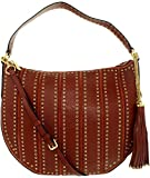 Michael Kors Women's Large Brooklyn Grommet Convertible Leather Top-Handle Bag Hobo - Brick