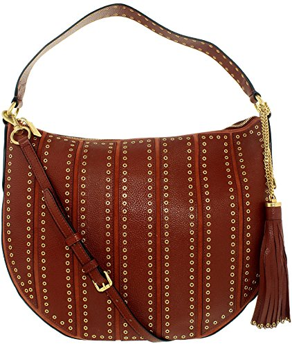 Michael Kors Women's Large Brooklyn Grommet Convertible Leather Top-Handle Bag Hobo - Brick by Michael Kors