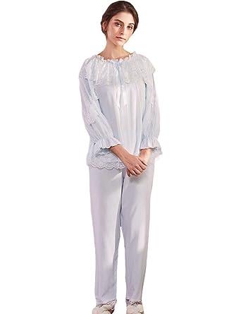 ... Conjunto De Pijama Elegante Moda Princess Bambola Ropa Pijamas Mujer Manga Larga Cuello Redondo Volantes Albornoz Batas: Amazon.es: Ropa y accesorios