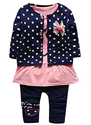 3Pcs Baby Girl Dot Print Coat Little Brother T Shirt Tops Pants Outfits Set Size 3-6Months/Tag70 (Blue) (Top Coat Pants)
