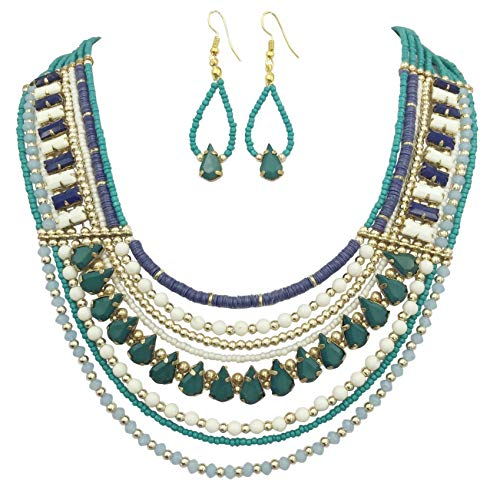 Gypsy Jewels Multi Row Layered Seed Bead Statement Necklace and Dangle Earring Set (Teal Navy Blue & ()