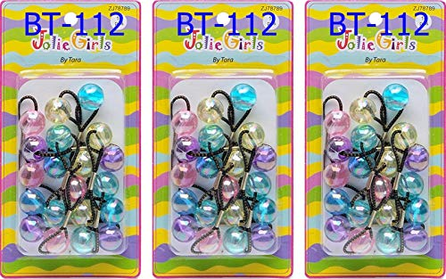 Crispy Collection Twinbead Bubble Ball Ponytail Elastics 10 Pieces (3 PACK, BT112)