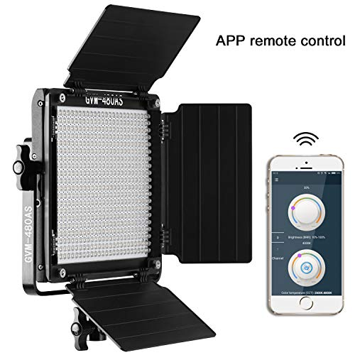 GVM Led Bi-Color Video Lights with APP Function, Variable CCT 2300K-6800K and 10%-100% Brightness with Digital Display for Video Studio Shooting, CRI97+ TLCI97 Led Light Panel +Barndoor