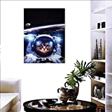 "Warm Family Cat Customize Wall Stickers Funny Astronaut Cat Above Earth in Outer Space Explorer Kitty Mission Humor Art Image Canvas Print Wall Art 20""x28"" Blue White"