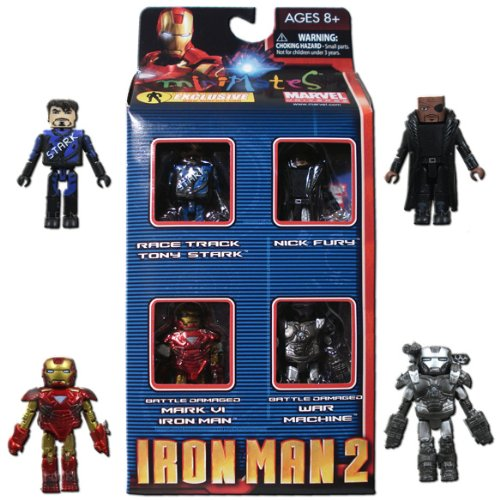 Iron Man 2 Movie Exclusive Minimates Mini Figure 4Pack Boxset Race Track Tony Stark, Nick Fury, Battle Damaged Mark VI Iron Man & Battle Damaged War -