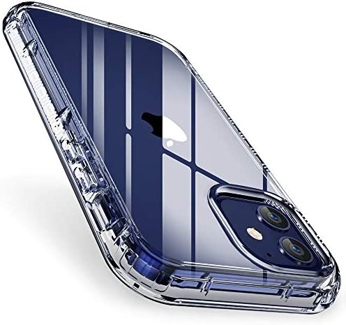 "FLOVEME for iPhone 12 Mini Case Clear 5.4"" 2020, Dual Layer Rugged Bumper Shockproof Crystal Cover Protective iPhone 12 Mini Clear Case for Women Men Girls Boys"