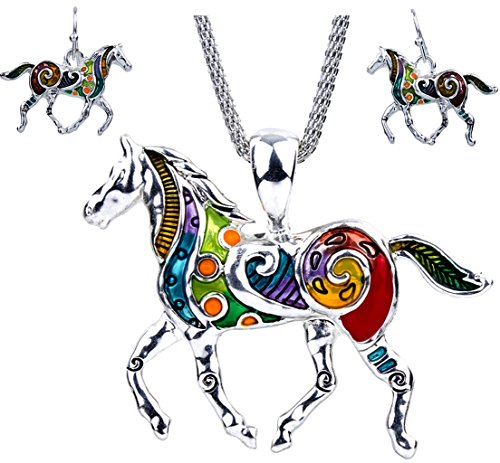 DianaL Boutique Beautiful Enameled Horse Pendant Necklace and Earrings Set with 20