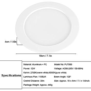 W Milight De 4 Fut066 Zerodis Downlight Spotlight 2 G Regulable Led Wireless Cct 12 RgbMando DH9Wb2IeEY