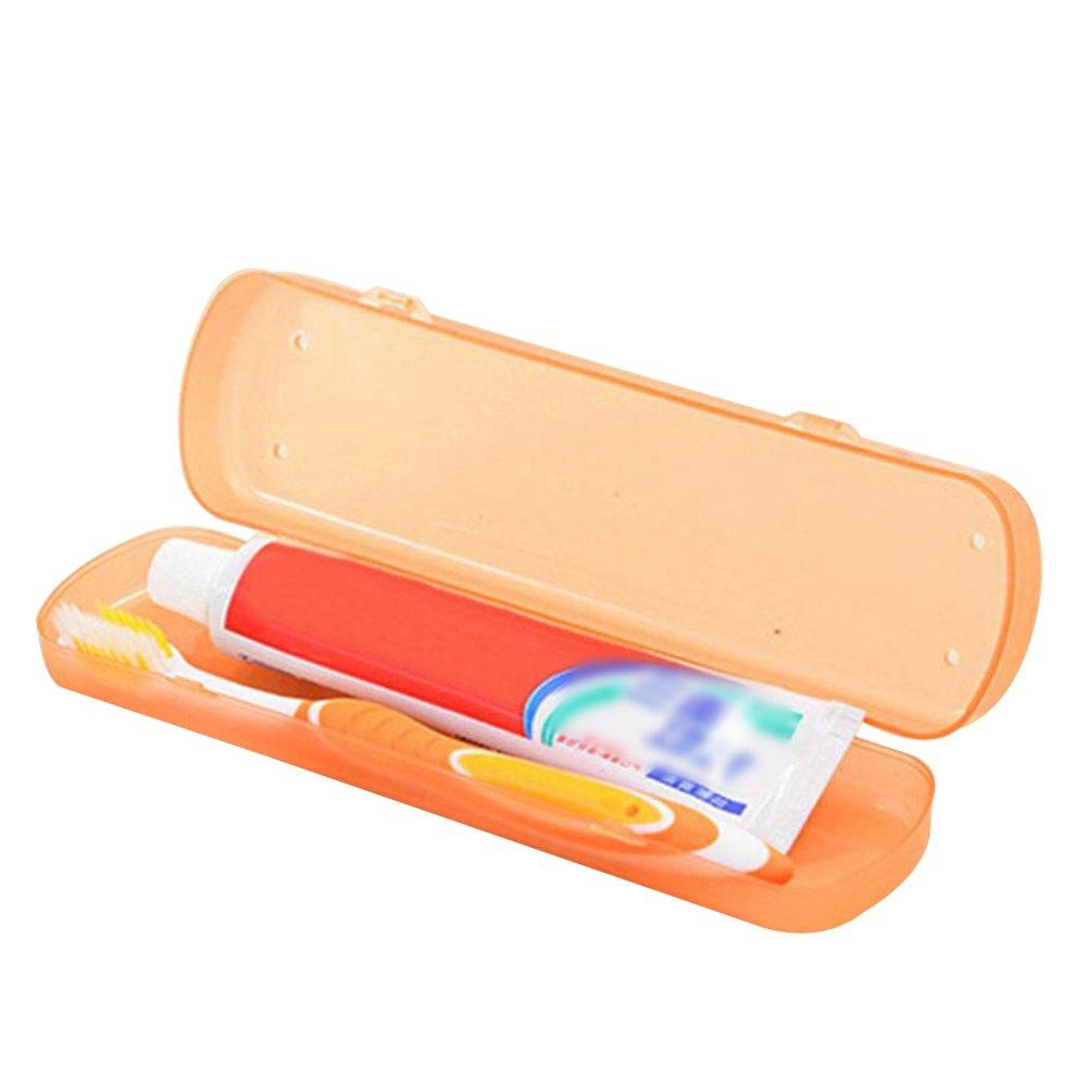 CAOLATOR Caja de Plástico Portátil Cepillo de Dientes para el Viaje Cepillo de Dientes Caja Antibacteriana Pasta de Dientes Proteja Copa Caja (Naranja): ...