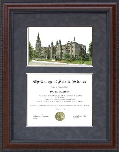 Our Lady of the Lake University (OLLU) Frame with Campus Lithograph - 11 x 14 horizontal (landscape) diploma