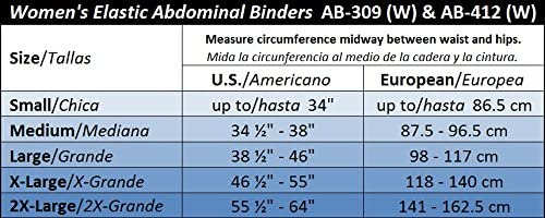 """GABRIALLA Women's Breathable Abdominal/Back Support Binder AB-309: White , Small Up to 34"""" 7"""