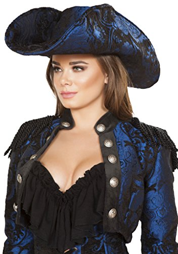 Mary Read Pirate hat - Blue/Black - One Size Fits (Blue Pirate Hat)