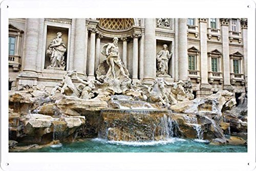 World HOPE Art - Trevi Fountain Tin Sign Unique Wall Decor Metal Poster Wall Plaque (WHA23779)