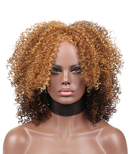 Search : Kalyss Blonde to brown Big Bouncy African American Women's Wig Medium Short Afro Fluffy Kinky Curly High Resistant Synthetic Hair Wigs for Black Women