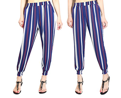 Verticali Donna Strisce Blu Vita Con Pantalone Fiato Harem Harem A 8BqaSWOS5