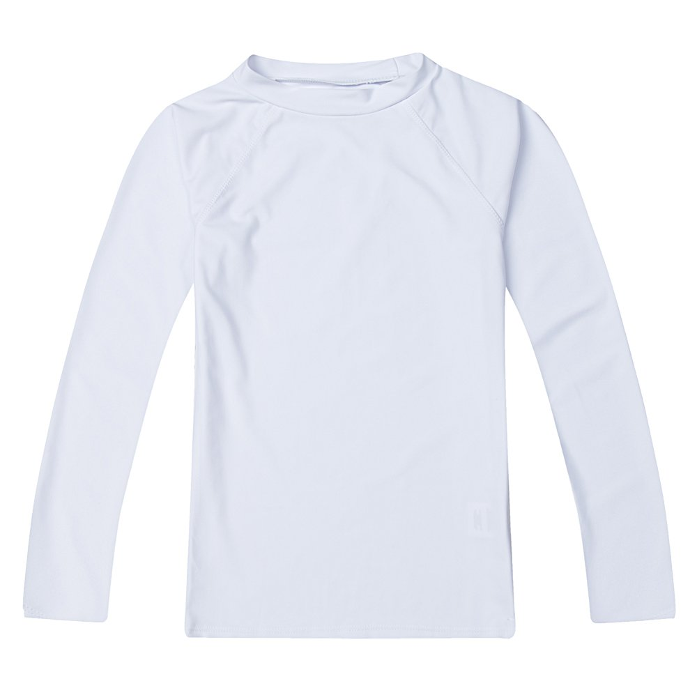 Boys' Long Sleeve Rashguard Swimwear Rash Guard Athletic Tops Swim Shirt UPF 50+ Sun Protection, White 6