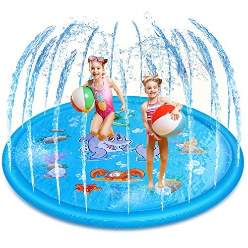 (Joyhill 68 in (170cm) Wading pool Sprinkler Splash Pad, Splash Play Mat , Kiddie Water Pool, Water Toys for Kids Toddlers Boys Girls Children Outdoor Party (Blue) )