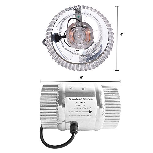 well-wreapped Growtent Garden 4 Inch Inline Duct Fan for Moving Air, 80 CFM