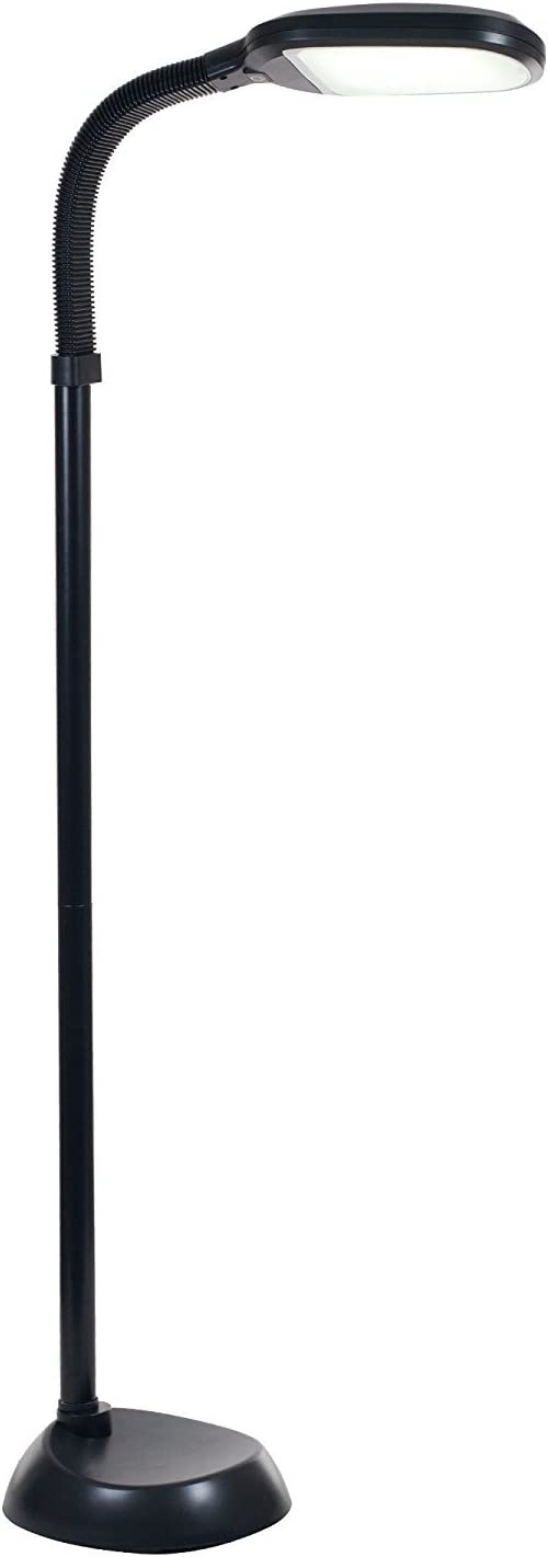 Baltoro LED Floor Lamp – Soft White Reading Light – Built-in Step Dimmer -Adjustable Head Pivots in Any Direction Save Energy 12 Watts – Black Color – SL5758BL
