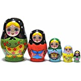 FinerMe Fine Work Russian Nesting Dolls Matryoshka Wood Stacking Nested Set 5 Pieces Handmade Toys for Children Kids Christmas Birthday Home Decoration Halloween Gift( Color A)