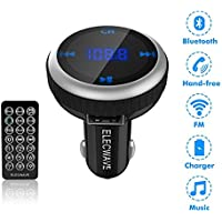 Elecwave EB04 Wireless Bluetooth FM Transmitter Radio Adapter Car Kit with Dual USB Port Remote Controller, Black
