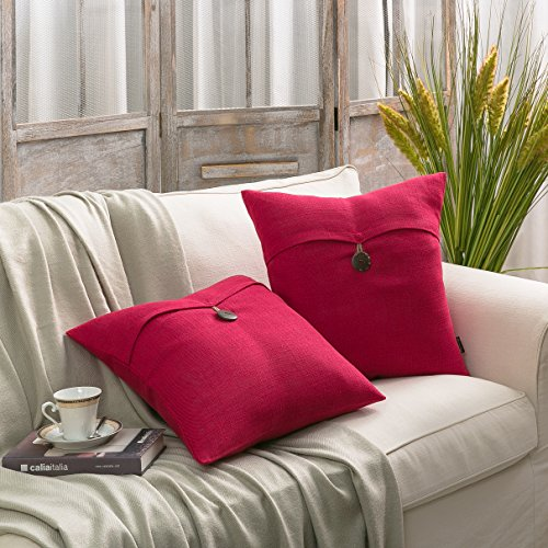 PHANTOSCOPE Decorative Button Throw Pillow Cover Set of 2