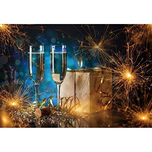 Laeacco New Year Celebration Background 7x5ft Fireworks Vinyl Photography Backdrop 2020 New Year Eve Party Decoration Champagne Golden Streamers Gift Xmas Carnival Banner Children Adults Portraits
