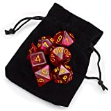 7 Die Polyhedral Dice Set - Philosopher's Stone (Red Glitter) with Velvet Pouch by Wiz Dice