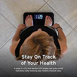 Etekcity Digital Body Weight Bathroom Scale with Extra Large Display, 440 Pounds, Elegant Black
