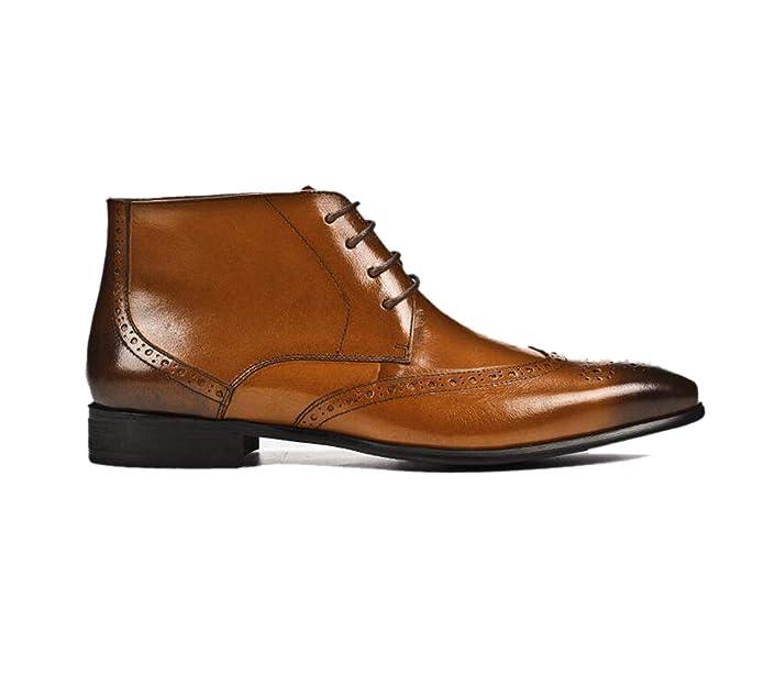 Brown LZMEG Scarpa da Uomo in Pelle Intagliata Derby High