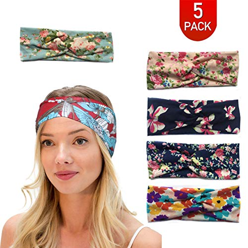 LPVLUX 5 Pcs Headbands for Women Girls Wide Boho Knotted Yoga Head Wrap Hair Band