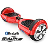 SagaPlay F1 Pro Self Balancing Scooter Motorized 2 Wheel Self Hover Balance Board (Red, Bluetooth Speaker Enable) [CSA/UL2272 Certified] All-Terrain Tires Transporter for Kid and Adult [Model: F1]