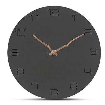 HLDY Estilo nórdico Reloj de Pared de Madera Negro Cuarzo Números silenciosos Relojes de Pared Grandes Reloj de Pared Circular de Madera Decoración para el ...