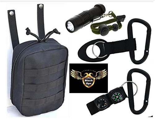 VAS BLACK OPS SURVIVAL PACK -TACTICAL ISSUE -WITH CREE XPE FLASHLIGHT, (2) TACTICAL BLACk #8 80MM ALUMINUM SNAP LINK CARABINERS & ACCESSORIES