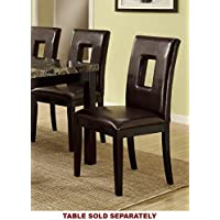Contemporary Dining Chair w/ Brown Espresso and Pine Wood by Poundex (Set of 2)
