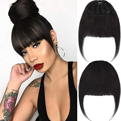 New Fashion Clip in Bangs/Fringe Natural Real Human Hair Clip in/on Hair Extensions Flat Bangs with Temple for Girls Women One-piece Hairpiece (Natural Black) ()