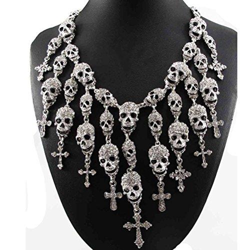 Vintage Silver/Black Skeleton Skull Head Pendant Crystal Bib Necklace Jewelry US - - Elephant Dubai Design