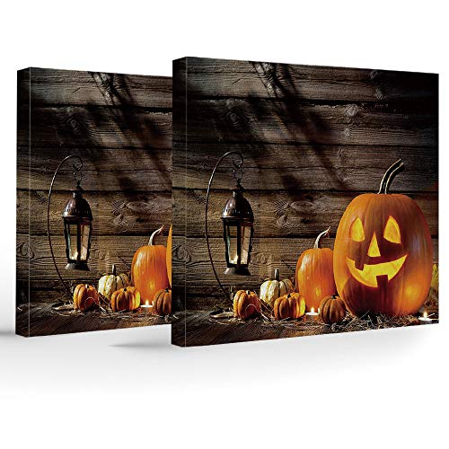 iPrint Birthday Decorations,Halloween,Modern Stretched and Framed Artwork,Grinning Expression Pumpkin Country House Squash Bunch on Wooden Planks Image for $<!--$51.99-->