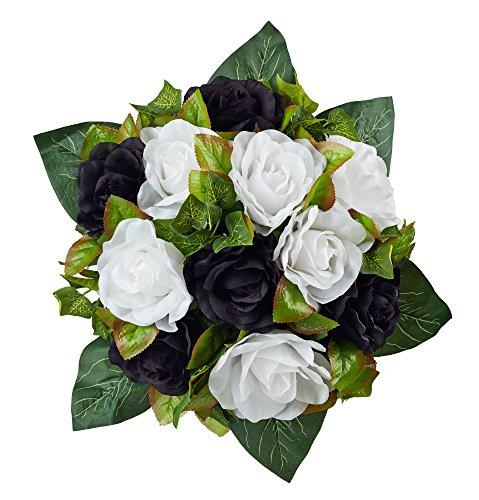 Black And White Silk Rose Nosegay - Bridal Wedding Bouquet (Nosegay Bridal Bouquet)