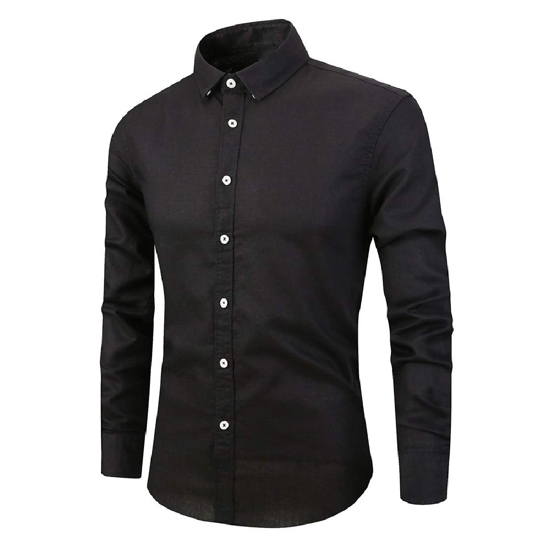 YUNY Mens Fashion Linen Cardi Long Sleeve Square Collor Solid Shirt Black S