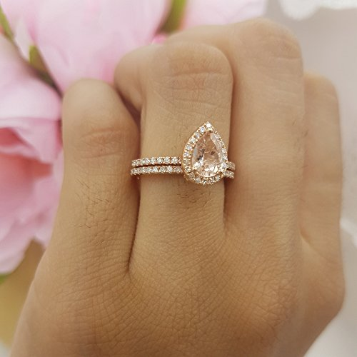 10K Gold 7X5 MM Pear Morganite & Round Diamond Ladies Bridal Engagement Ring With Band Set