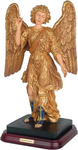 Archangel Raphael Healing Pointing Upwards Statue, Gold Leaf – Large