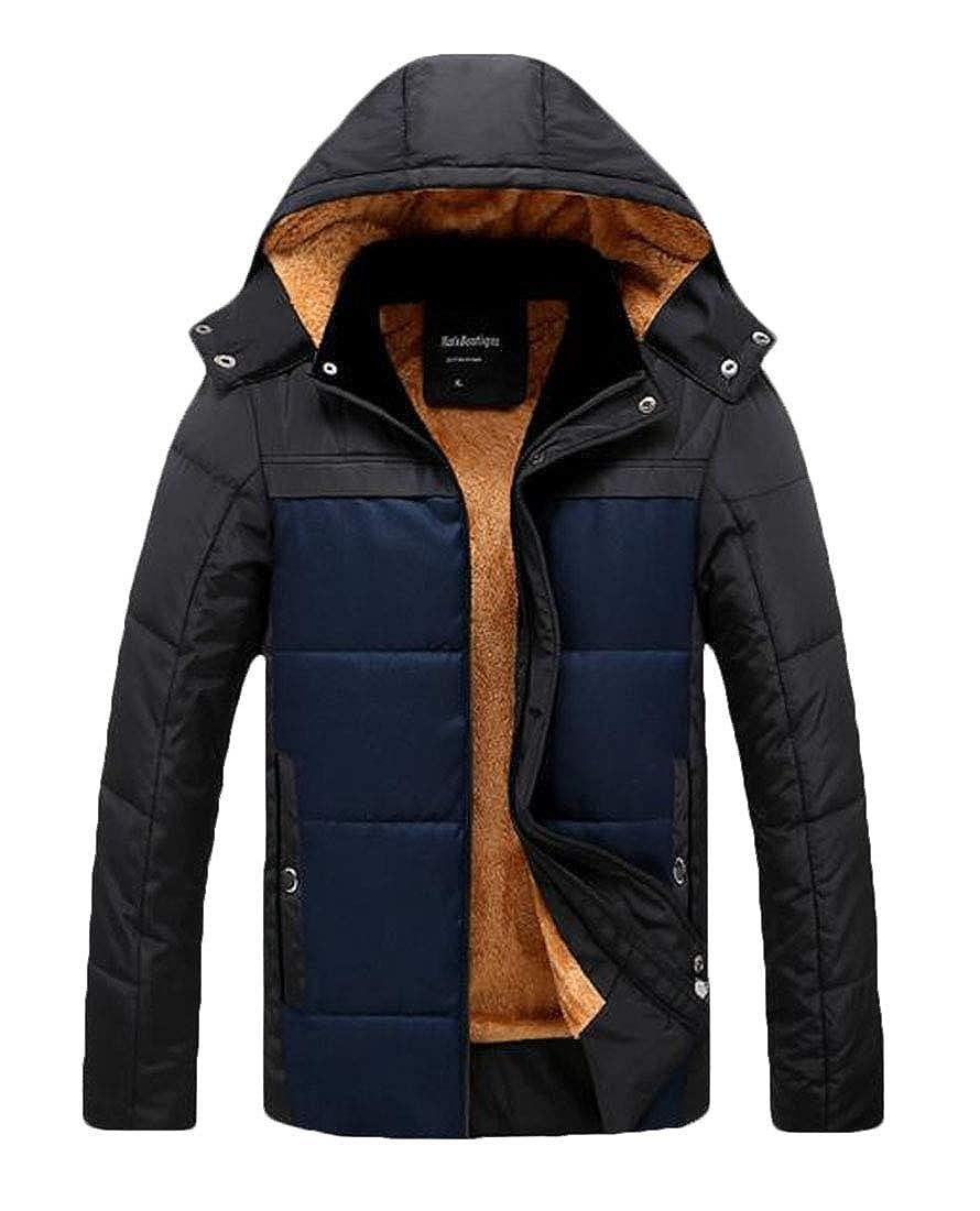 Nanquan Men Hoodie Fleece Casual Thickened Zip Winter Coat