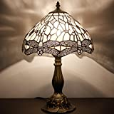 Tiffany Style Table lamp Reading Beside Light 18 inch Tall White Dragonfly Shade E26 (S521 W Series)