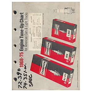 Original 1968-75 Champion Spark Plug Engine Tune-Up Chart Form No. 5T
