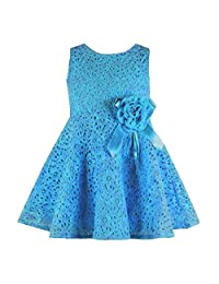 Changeshopping Baby Girls Kids Lovely Lace Floral Princess Party One Piece Dress (12-18month, Blue)