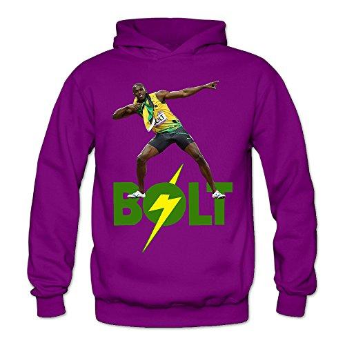 (Caili Women's Usain Bolt Hoodies Sweatshirts XXL Purple)