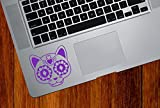 "Sugar Skull Cat Kitty - Day of the Dead - Dia de los Muertos - Laptop | Macbook | Trackpad | Tablet - Vinyl Decal Sticker YYDC (2.75""w x 2.75""h)(Color Choices) (PURPLE)"